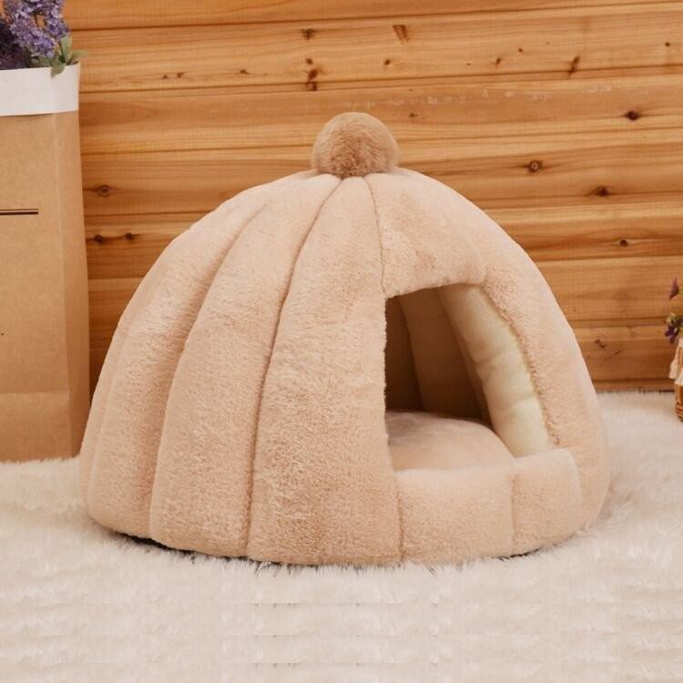 ペットベッド 犬 猫 ふわふわ 暖か ペットハウス 猫ベッド ペット用 ペットハウス ペットベッド ドーム型 小型犬 マット付き 室内用  秋 冬 送料無料|panni-fashion|14