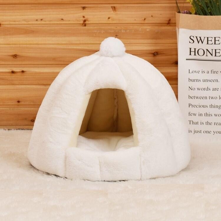 ペットベッド 犬 猫 ふわふわ 暖か ペットハウス 猫ベッド ペット用 ペットハウス ペットベッド ドーム型 小型犬 マット付き 室内用  秋 冬 送料無料|panni-fashion|18
