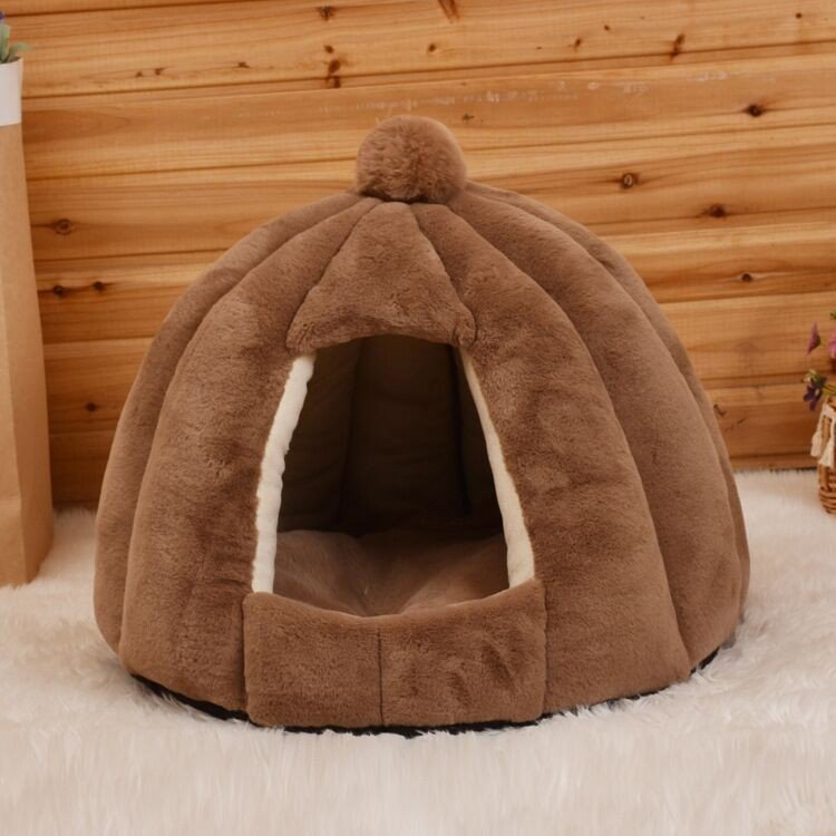 ペットベッド 犬 猫 ふわふわ 暖か ペットハウス 猫ベッド ペット用 ペットハウス ペットベッド ドーム型 小型犬 マット付き 室内用  秋 冬 送料無料|panni-fashion|13