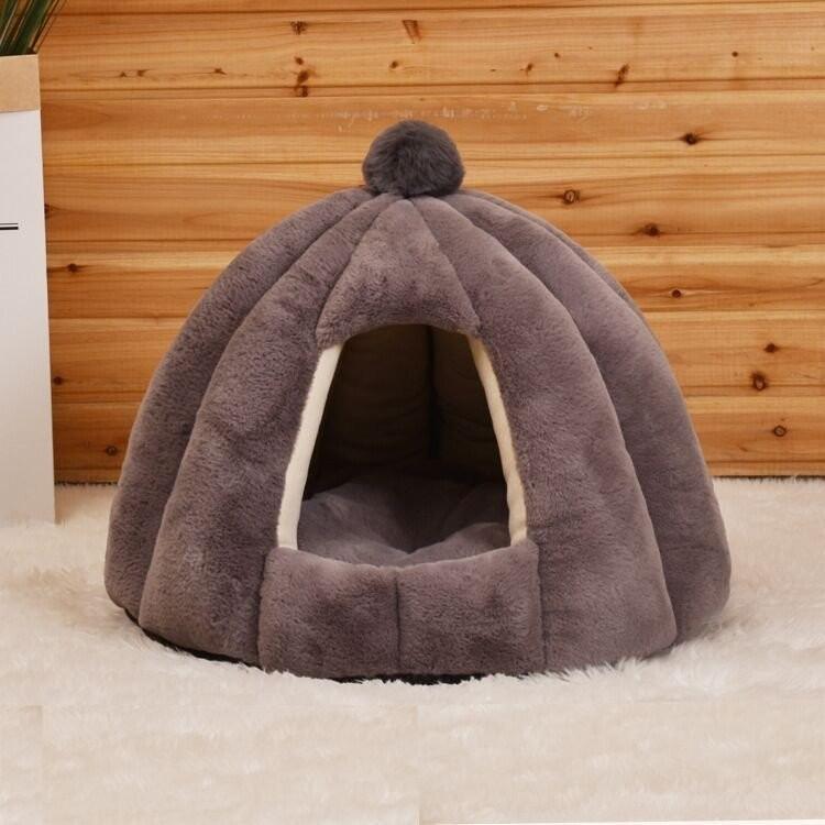 ペットベッド 犬 猫 ふわふわ 暖か ペットハウス 猫ベッド ペット用 ペットハウス ペットベッド ドーム型 小型犬 マット付き 室内用  秋 冬 送料無料|panni-fashion|19
