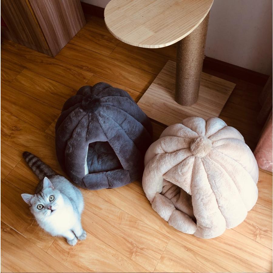 ペットベッド 犬 猫 ふわふわ 暖か ペットハウス 猫ベッド ペット用 ペットハウス ペットベッド ドーム型 小型犬 マット付き 室内用  秋 冬 送料無料|panni-fashion|03