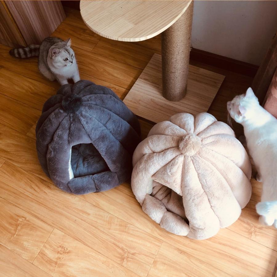 ペットベッド 犬 猫 ふわふわ 暖か ペットハウス 猫ベッド ペット用 ペットハウス ペットベッド ドーム型 小型犬 マット付き 室内用  秋 冬 送料無料|panni-fashion|04