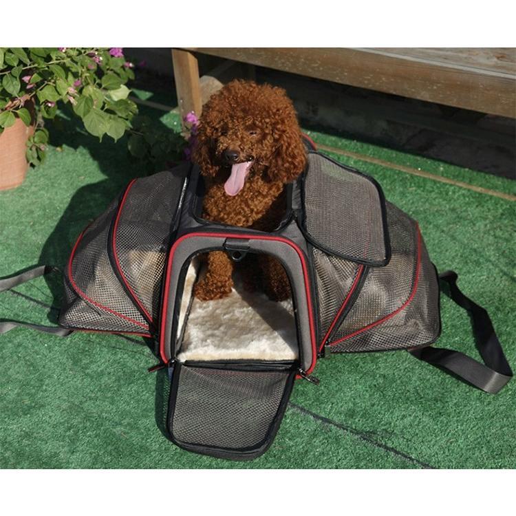ペット キャリー 拡張可能 通気性抜群 旅行・散歩・通院・お出かけに便利 折りたたみ 小型犬 猫 車載・スリング・手持ち 多機能ペットバッグ S/Mサイズ Panni|panni-fashion|11