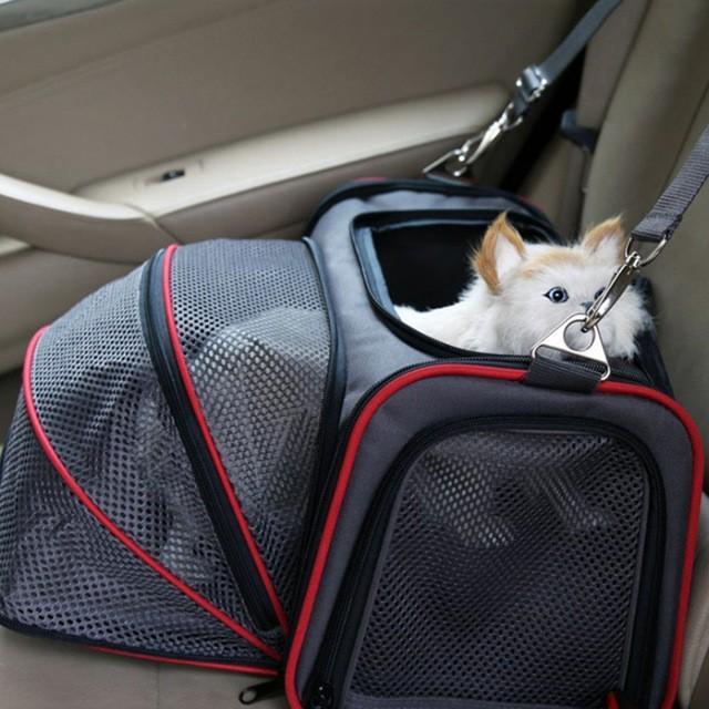 ペット キャリー 拡張可能 通気性抜群 旅行・散歩・通院・お出かけに便利 折りたたみ 小型犬 猫 車載・スリング・手持ち 多機能ペットバッグ S/Mサイズ Panni|panni-fashion|06