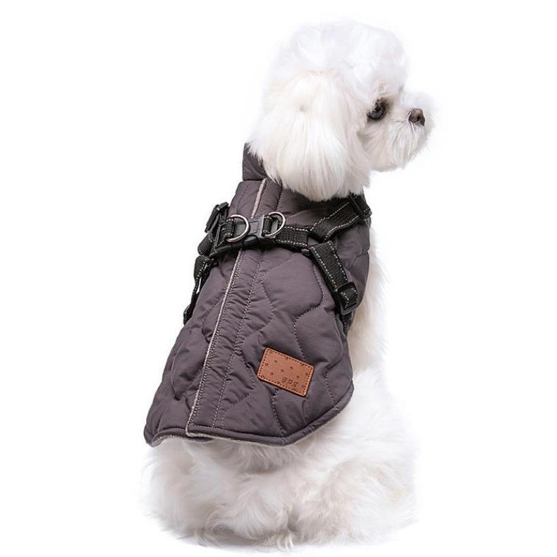 ドッグウェア 秋 冬 可愛い 犬服 おしゃれ ダウン風ベスト フック付き服 お出かけ ジャケット コート リードフック付き バックルコート 小型犬 中型犬 老犬|panni-fashion|16