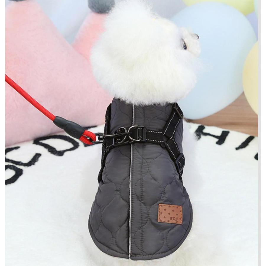 ドッグウェア 秋 冬 可愛い 犬服 おしゃれ ダウン風ベスト フック付き服 お出かけ ジャケット コート リードフック付き バックルコート 小型犬 中型犬 老犬|panni-fashion|09