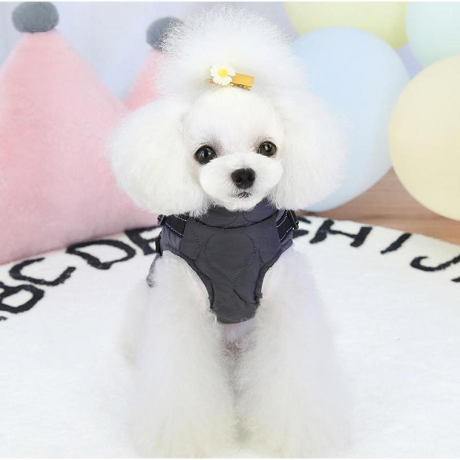 ドッグウェア 秋 冬 可愛い 犬服 おしゃれ ダウン風ベスト フック付き服 お出かけ ジャケット コート リードフック付き バックルコート 小型犬 中型犬 老犬|panni-fashion|10
