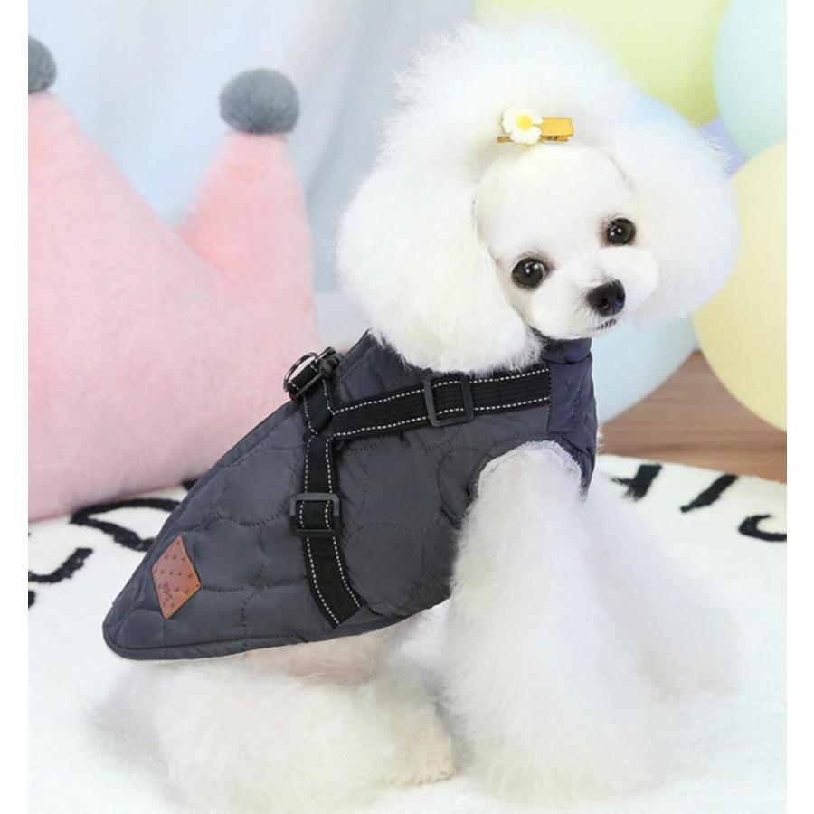 ドッグウェア 秋 冬 可愛い 犬服 おしゃれ ダウン風ベスト フック付き服 お出かけ ジャケット コート リードフック付き バックルコート 小型犬 中型犬 老犬|panni-fashion|11