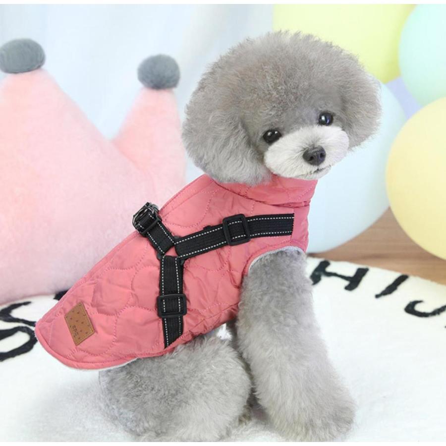 ドッグウェア 秋 冬 可愛い 犬服 おしゃれ ダウン風ベスト フック付き服 お出かけ ジャケット コート リードフック付き バックルコート 小型犬 中型犬 老犬|panni-fashion|12