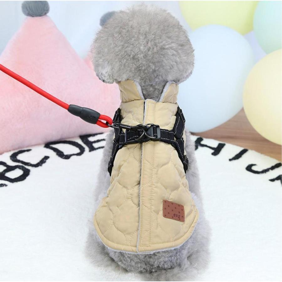 ドッグウェア 秋 冬 可愛い 犬服 おしゃれ ダウン風ベスト フック付き服 お出かけ ジャケット コート リードフック付き バックルコート 小型犬 中型犬 老犬|panni-fashion|13
