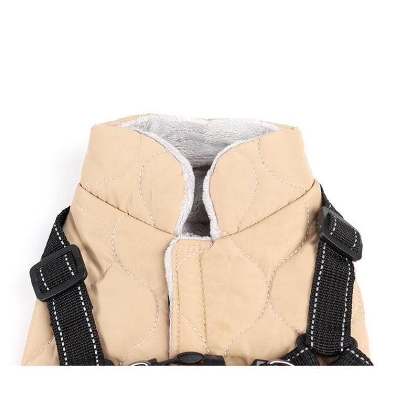 ドッグウェア 秋 冬 可愛い 犬服 おしゃれ ダウン風ベスト フック付き服 お出かけ ジャケット コート リードフック付き バックルコート 小型犬 中型犬 老犬|panni-fashion|04