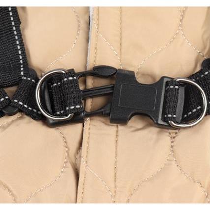 ドッグウェア 秋 冬 可愛い 犬服 おしゃれ ダウン風ベスト フック付き服 お出かけ ジャケット コート リードフック付き バックルコート 小型犬 中型犬 老犬|panni-fashion|05