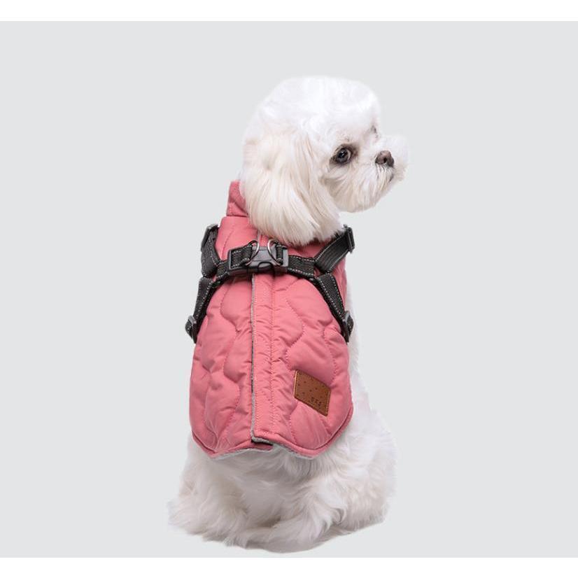 ドッグウェア 秋 冬 可愛い 犬服 おしゃれ ダウン風ベスト フック付き服 お出かけ ジャケット コート リードフック付き バックルコート 小型犬 中型犬 老犬|panni-fashion|15