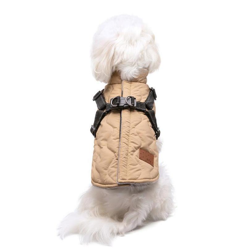 ドッグウェア 秋 冬 可愛い 犬服 おしゃれ ダウン風ベスト フック付き服 お出かけ ジャケット コート リードフック付き バックルコート 小型犬 中型犬 老犬|panni-fashion|17