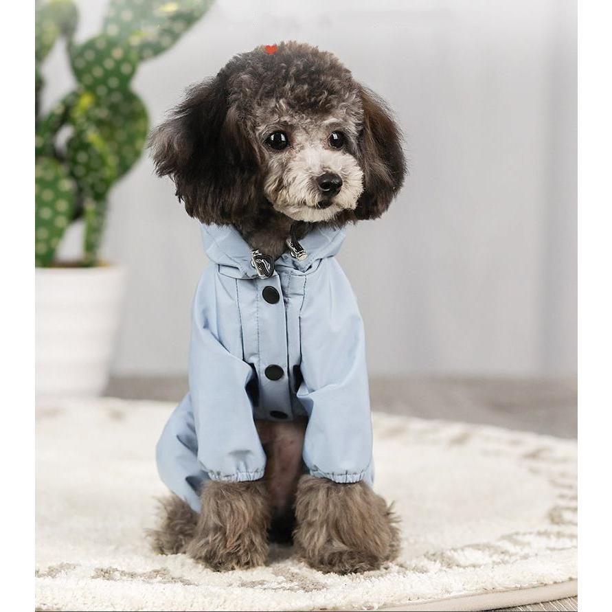 ペット服 ドッグウェア レインコート 犬の服 犬服 雨服 雨具 パーカー フード付き 四足 小中型犬用 雨の日 防水 雨具 お散歩 梅雨対策 メール便 着脱簡単|panni-fashion|02