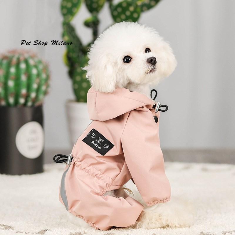 ペット服 ドッグウェア レインコート 犬の服 犬服 雨服 雨具 パーカー フード付き 四足 小中型犬用 雨の日 防水 雨具 お散歩 梅雨対策 メール便 着脱簡単|panni-fashion|03