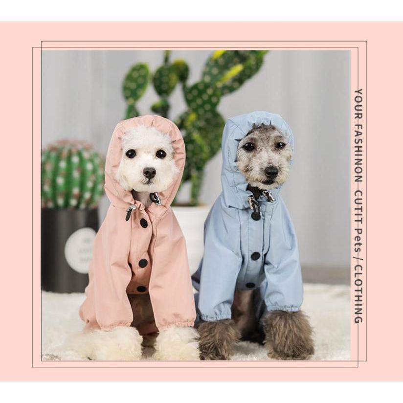 ペット服 ドッグウェア レインコート 犬の服 犬服 雨服 雨具 パーカー フード付き 四足 小中型犬用 雨の日 防水 雨具 お散歩 梅雨対策 メール便 着脱簡単|panni-fashion|06