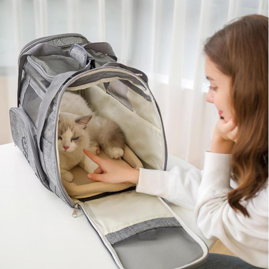 猫用 ペットキャリー 折りたたみ キャリーバッグ 2way ショルダー グレー/ブラック/ブルー 8kg以下 猫 小型犬用 メッシュ 通気 軽量 通院 旅行お出かけ 送料無料 panni-fashion 11