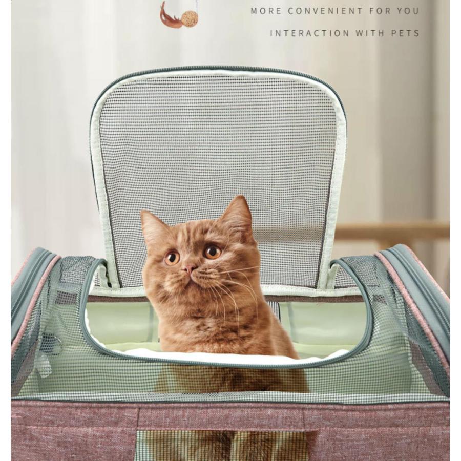猫用 ペットキャリー 折りたたみ キャリーバッグ 2way ショルダー グレー/ブラック/ブルー 8kg以下 猫 小型犬用 メッシュ 通気 軽量 通院 旅行お出かけ 送料無料 panni-fashion 05