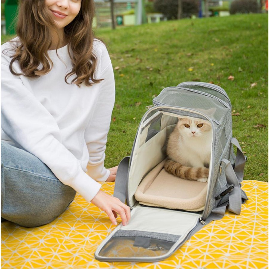 猫用 ペットキャリー 折りたたみ キャリーバッグ 2way ショルダー グレー/ブラック/ブルー 8kg以下 猫 小型犬用 メッシュ 通気 軽量 通院 旅行お出かけ 送料無料 panni-fashion 08