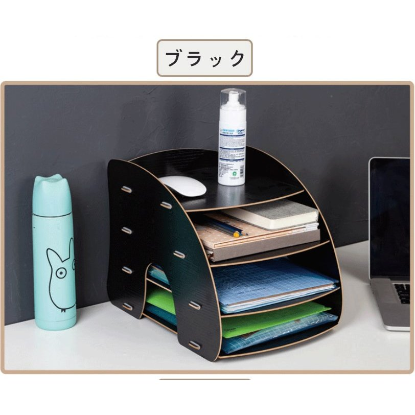 卓上 収納 ボックス レターケース 深型 A4サイズ 木製 卓上ラック 机上棚 組み立て式 多機能 送料無料|panni2-shop|12