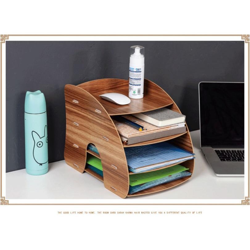 卓上 収納 ボックス レターケース 深型 A4サイズ 木製 卓上ラック 机上棚 組み立て式 多機能 送料無料|panni2-shop|03