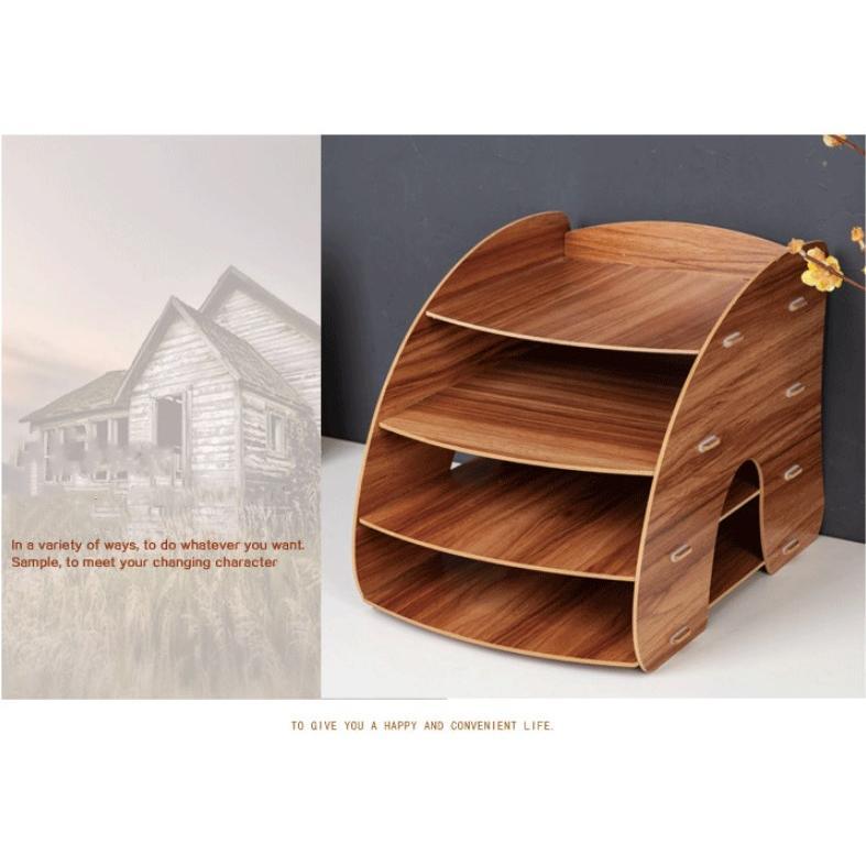 卓上 収納 ボックス レターケース 深型 A4サイズ 木製 卓上ラック 机上棚 組み立て式 多機能 送料無料|panni2-shop|04