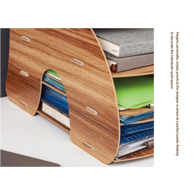 卓上 収納 ボックス レターケース 深型 A4サイズ 木製 卓上ラック 机上棚 組み立て式 多機能 送料無料|panni2-shop|06