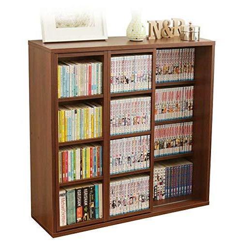 アイリスオーヤマ 本棚 コミック ラック 大容量 スライド棚 ダブル 幅約90×奥行約29.2×高さ約92.2cm ブラウン CSD-9 pantry-price