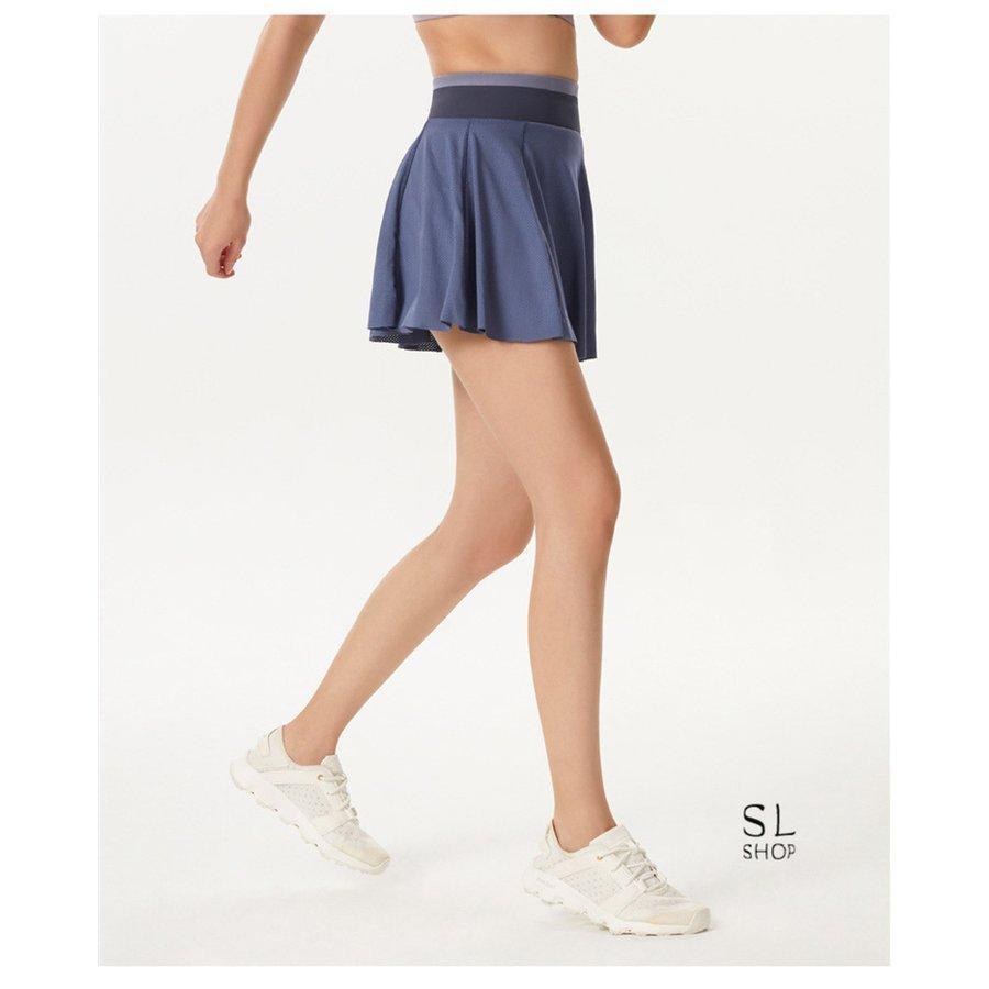 スカートレディースランニングスカートテニススポーツウェアヨガ裏パンツ有トレーニングフェイクレイヤード|paradisekiwi|14