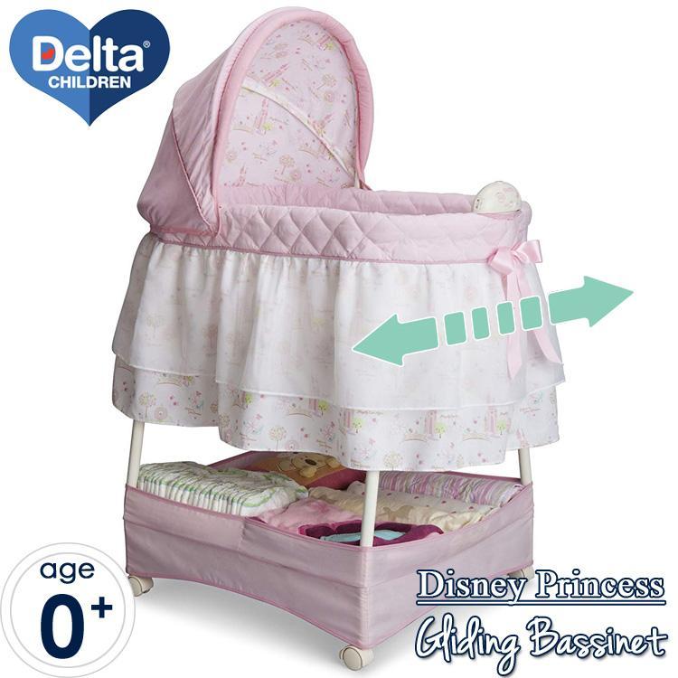 ディズニー プリンセス グライダー ベビーベッド ハイタイプ バシネット キャスター付き 新生児 Delta Delta disney_y