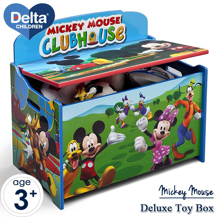ポイント5倍/ ポイント5倍/ ディズニー ミッキーマウス デラックス ふた付き おもちゃ箱 トイボックス デルタ delta