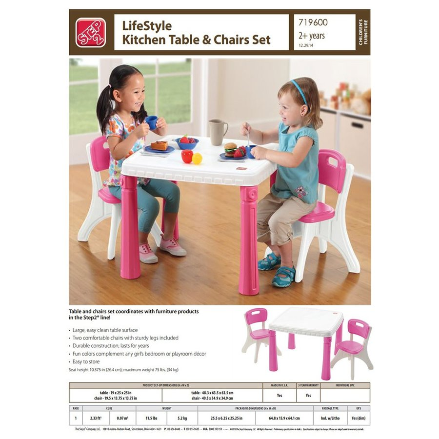 Pink 9 Step9 LifeStyle Kitchen Table and Chairs Set