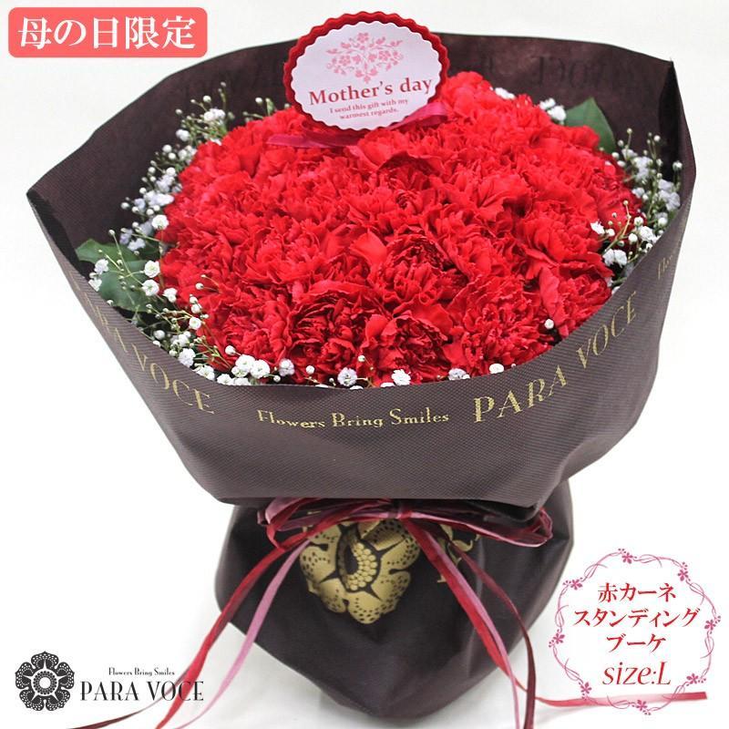 母の日 花 ギフト 母の日ギフト 母の日 花 プレゼント 定番 お洒落 花瓶が要らない花束 赤いカーネーションのスタンディングブーケ Lサイズ 36本|paravoce