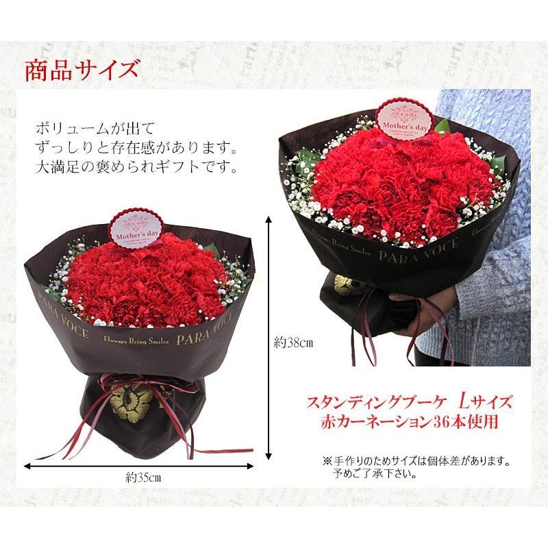 母の日 花 ギフト 母の日ギフト 母の日 花 プレゼント 定番 お洒落 花瓶が要らない花束 赤いカーネーションのスタンディングブーケ Lサイズ 36本|paravoce|06