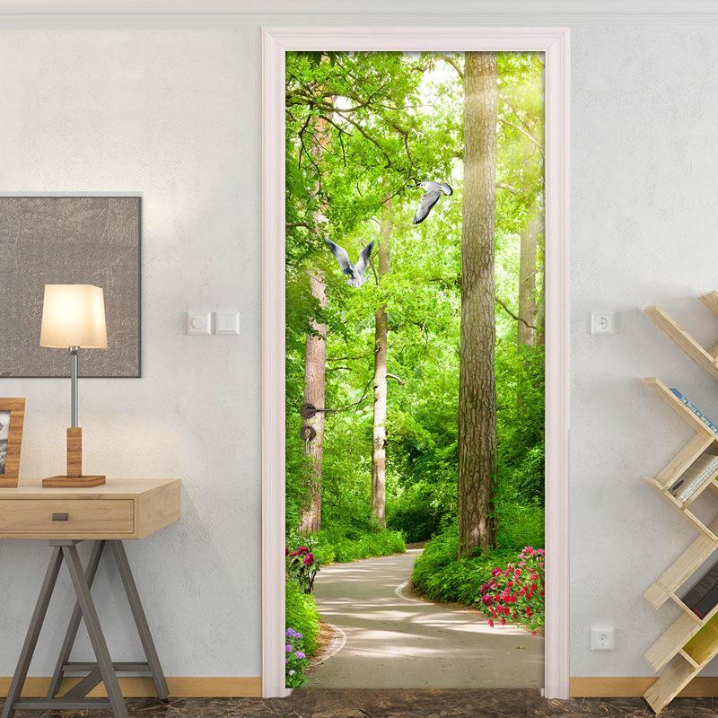 ウォールステッカー シール 貼ってはがせる 室内用ドア装飾シート 防水シール 部屋 ドアシート はと 飾り おしゃれ 林 ドア壁紙 DIY 引き出物 木 安い 激安 プチプラ 高品質