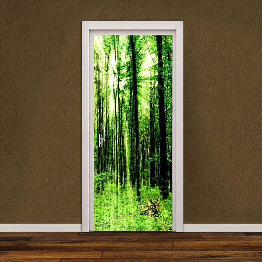 ウォールステッカー シール 貼ってはがせる 休日 室内用ドア装飾シート 防水シール 部屋 おしゃれ メーカー再生品 緑の森 ドア壁紙 飾り ドアシート DIY