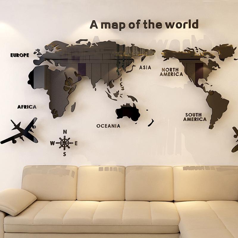 3D 世界地図 ウォールステッカー 壁紙 diy 飾り はがせる 装飾 おしゃれ シール 防水 壁 ホーム キッチン リビングルーム ベッドルーム インテリア  180cm*100cm|parisroseno2