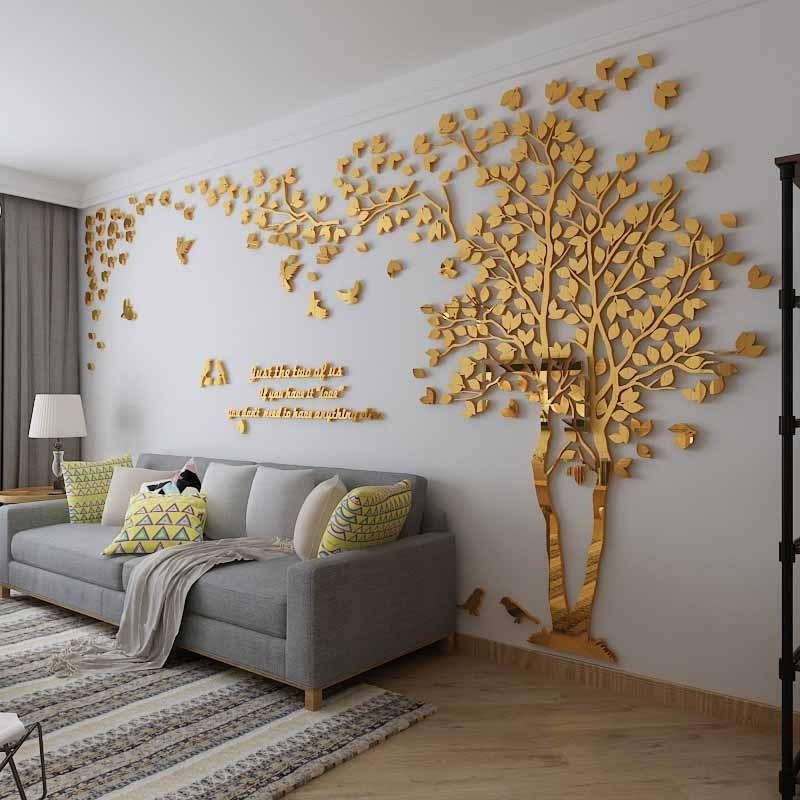 ウォールステッカー 3D 木 木の葉 鏡面 diy アクリル壁紙 飾り はがせる インテリア 200cm ベッドルーム ホーム シール 装飾 100cm 壁 リビングルーム 入荷予定 サービス