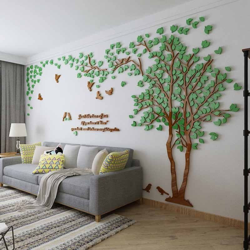 ウォールステッカー 3D 木 木の葉 diy アクリル壁紙 飾り はがせる 装飾 シール 壁 ホーム キッチン リビングルーム ベッドルーム インテリア  250cm*130cm|parisroseno2