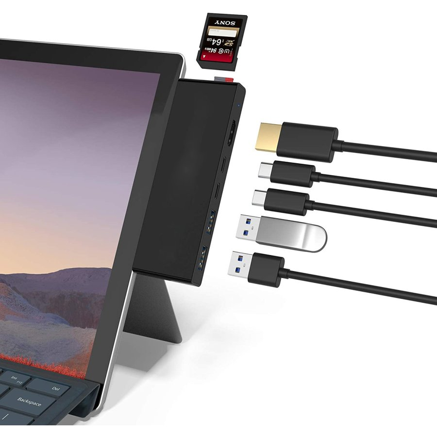 Microsoft Surface Pro 7 USBハブ 7-in-2 HDMI他 一部予約 変換アダプター ダークグレー スロット SD 4K@30Hz USB3.0ポート HDMIポート Micro おトク SDamp;TF
