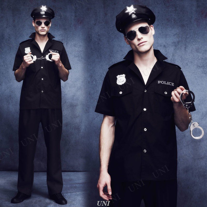 Smiffys Mens Police Officer Costume Shirt with Badge and Hat