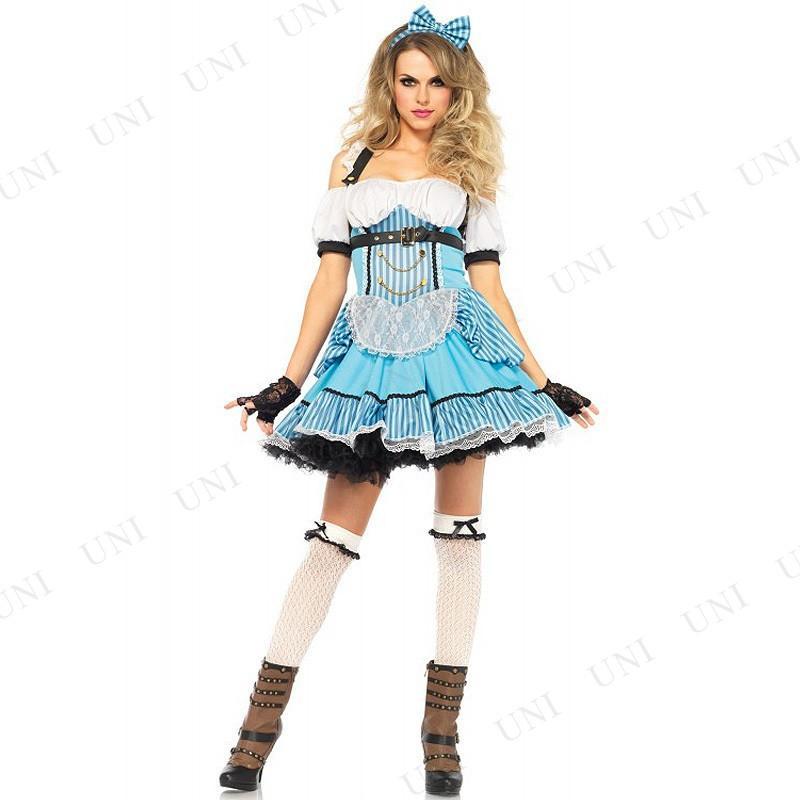 アリス ストライプドレス L コスプレ 衣装 ハロウィン 仮装 余興 コスチューム 大人用