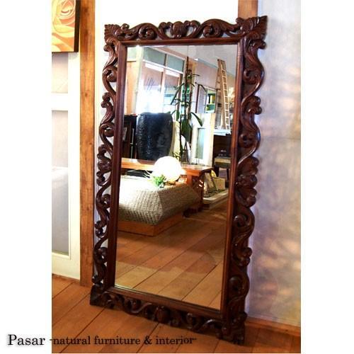 鏡 ミラー 大きなカーヴィングミラー アンティーク 150×80(cm) 鏡 アジアン雑貨 バリ島 アジアンインテリア