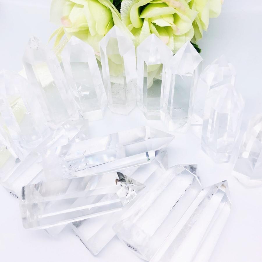 水晶 ポイント 3本セット 信託 オーバーのアイテム取扱☆ 六角柱