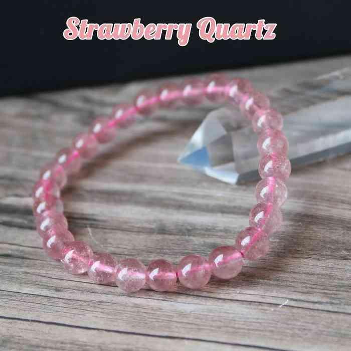 ストロベリークォーツ ブレスレット 新着セール 8ミリ 苺水晶 驚きの値段 パワーストーン プレゼント レディース 天然石