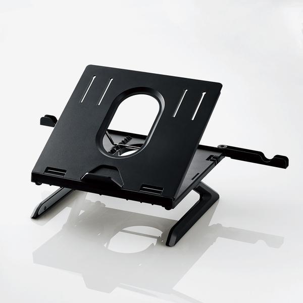 ノートPCスタンド/折りたたみ8段階/9.5cm/ブラック pasoden