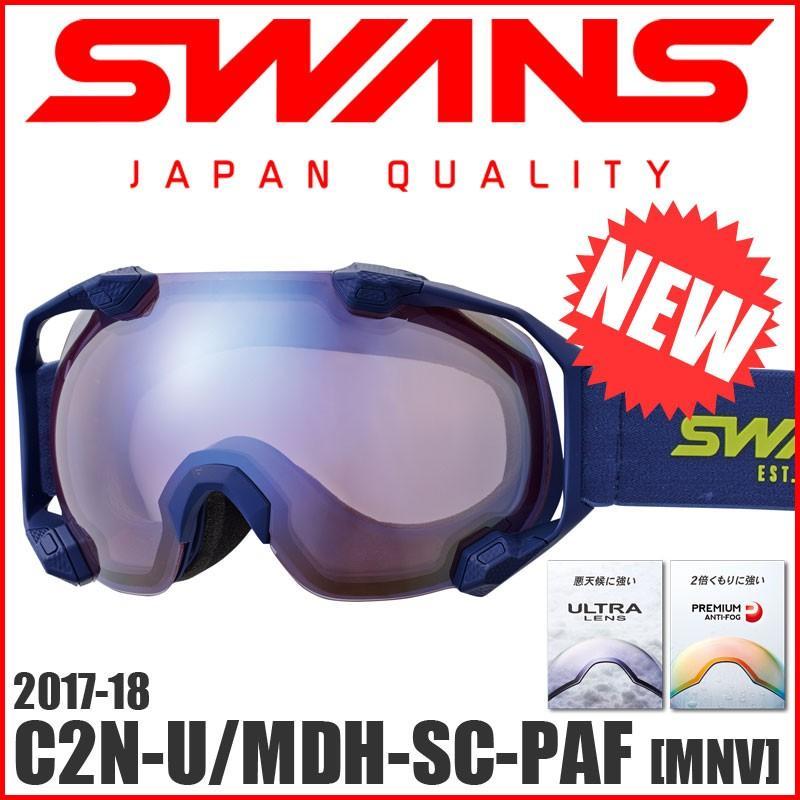 17-18 スノーゴーグル スワンズ SWANS C2N-U/MDH-SC-PAF [MNV] ヘルメット対応 球面ダブルレンズ UVカット くもり止め 撥水レンズ ミラー