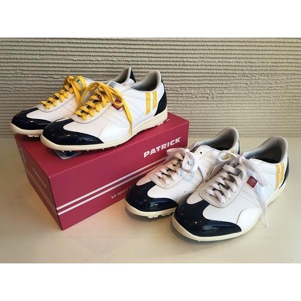 PATRICK(パトリック) ゴルフシューズ Palms&Co メンズ&レディース スパイクレス ホワイト×ネイビー×イエロー