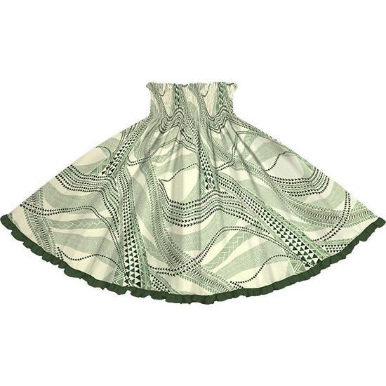 リヒリヒパウスカート 緑のパウスカート タパ・カヒコ柄 lihilihi-2736GN-moss緑